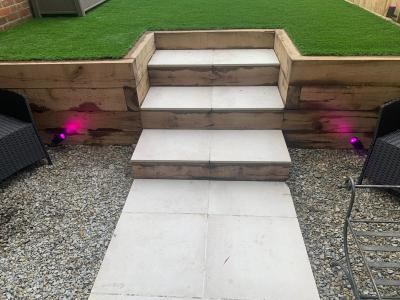 Colour changing LED Garden step lighting in Brighton